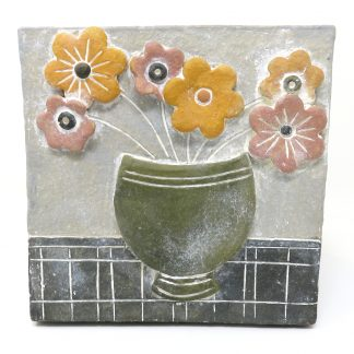 Bowl of Flowers Ceramic Plaque