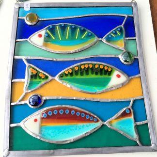 Trio of Fish Glass Panel