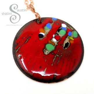 Vibrant Red Enamelled Copper Pendant | Shalini Austin