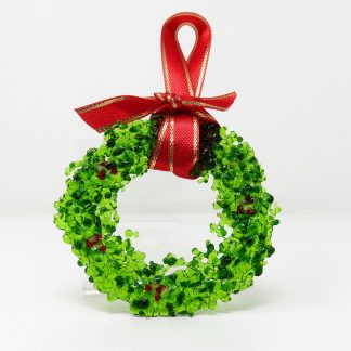 Green Glass Wreath Christmas Decoration
