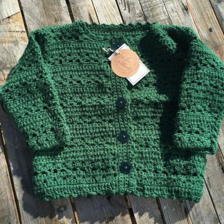 Green Crochet Cardigan 3 years | Sew Fun in the Attic