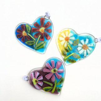 Flowering Heart Fused Glass Decoration