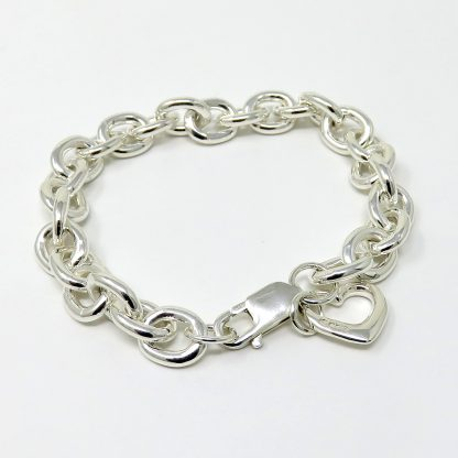 Sterling Silver Bracelet with Heart Charm | Lesley Adolphson