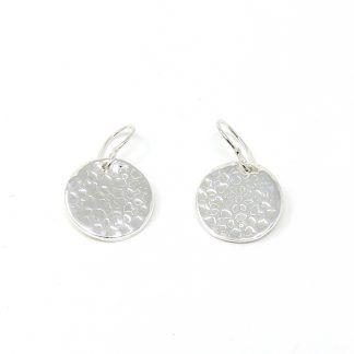 Flower Pattern Silver Disc Earrings | Lesley Adolphson