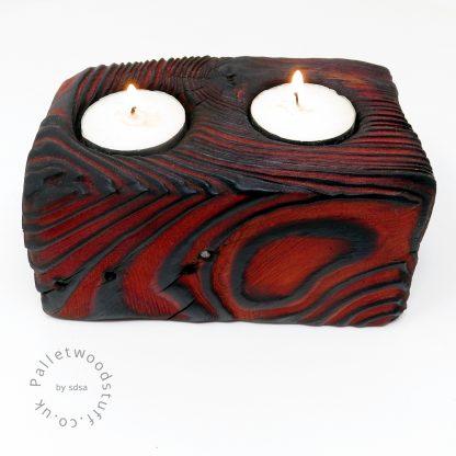 Reclaimed Wood Tealight Holder 02   Palletwood Stuff