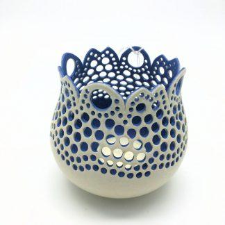 Drilled Blue & White Ceramic Tea Light Holder |