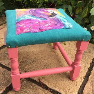 purple flamingo footstool