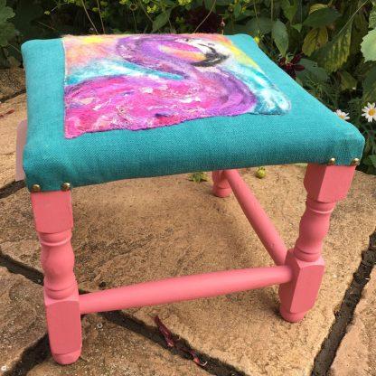 purple flamingo footstool