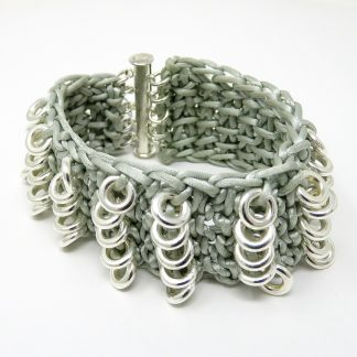 Crocheted Grey Cuff Bracelet | Wendy Mclean