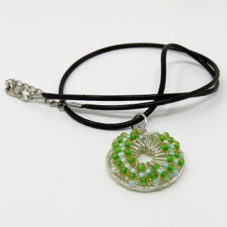 Woven Green-Blue Beads Pendant | Wendy Mclean